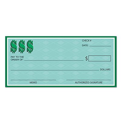 Beistle 54219 Winner's Check, 121/4 by 263/4-Inch Big Check
