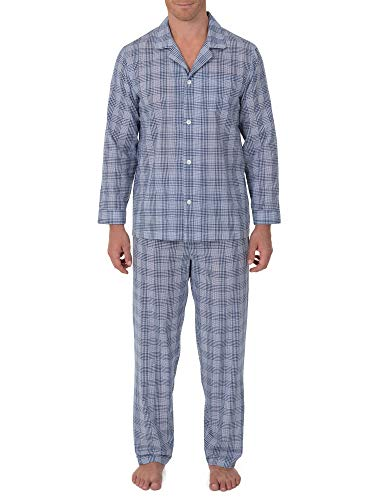 Geoffrey Beene Men's Broadcloth Long Sleeve Pajama Set, Navy/White Check, Large