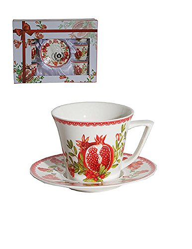 Espresso or Turkish Coffee Set of 6 Bone China Demitasse Cups and Saucers Red Pomegranates