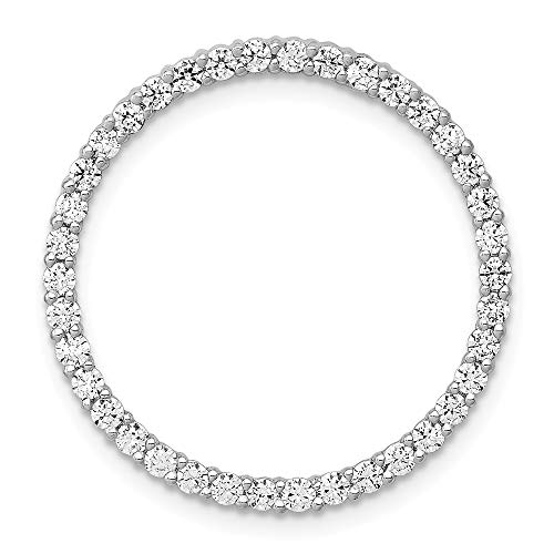 - 14k White Gold Diamond Circle Pendant Charm Necklace Slide Chain Fine Jewelry Gifts For Women For Her