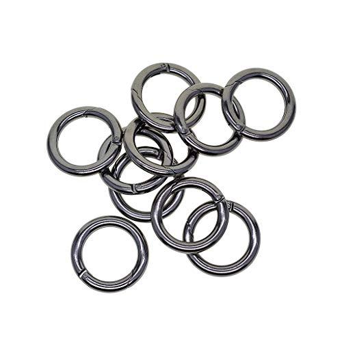 (SM SunniMix 28mm Circle Decorative Push Gate Rings Snap Hook for Bag Keychain Round Carabiner Hiking Climbing Necessary 10pcs - Iron)