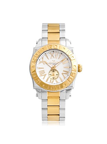 Swiss Quartz 44 MM Watch White Dial Stainless Steel Rose Ion Rose Bezel - Aquaswiss 62G0074