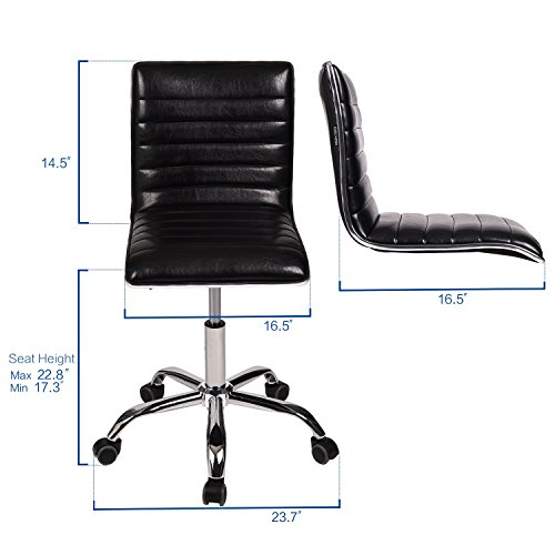 YOURLITE Swivel Mid Back Task Chair, Adjustable Soft Leather Padded Office Chair, Set of 2, Black by YOURLUITE (Image #2)