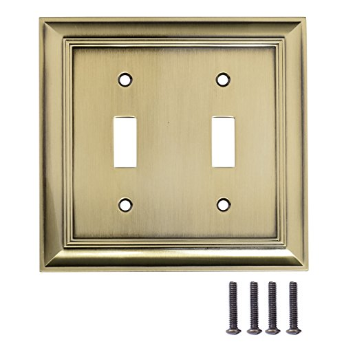 AmazonBasics Double Toggle Light Switch Wall Plate, Antique Brass, Set of 2 (Brass Toggle Switch Double)