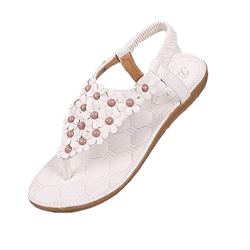 Comience Las Mujeres De Verano Bohemia Con Cuentas De Flores Sandalias Flip-flop Blancas