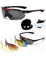 Charlemain Protección Gafas de Sol polarizadas de Deportivas con 5 Lentes Intercambiables para el esquí conducción, Golf, Ciclismo la Mejor Opción para Hombre y Mujer (Rojo Marco) / Charlemain Eyewear Retainer para Gafas, Correa de Gafas, Ajustables Retenedor de Gafas sin Cola