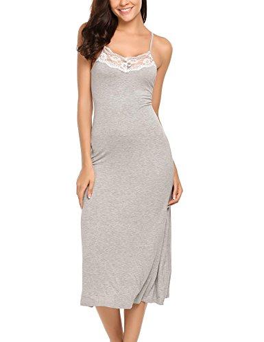 Lace Trim Full Slip - Modal Nightgown, Women's Lace Long Nightwear Chemise Full Slip Lace Trim Dress