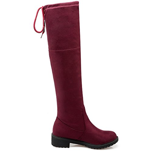 LongFengMa Red Shoes Boot Flat Over Knee Heel Women's r80qH6wr