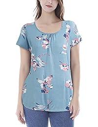 Smallshow Women's Maternity Nursing Tops Short Sleeve Modal Breastfeeding Shirt