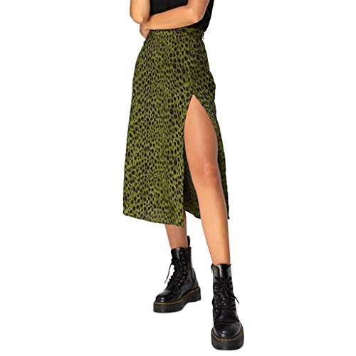 Aunimeifly Woman's Stylish Personality Long Skirts Ladies Summer Sexy Split Leopard Print Skirt Green (Green Print Software)