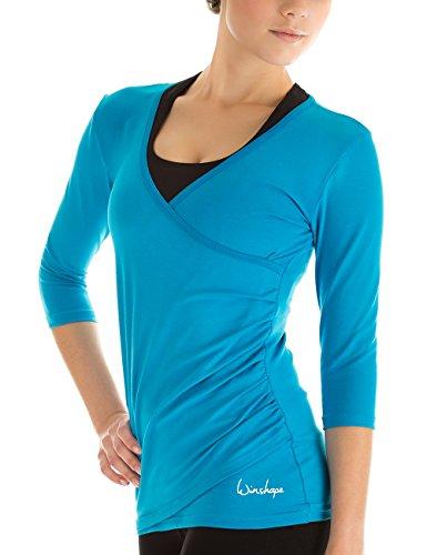 Winshape Damen 3/4-arm Shirt in Wickeloptik Fitness Yoga Pilates Freizeit, türkis, M, WS3