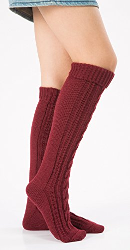 Leotruny Damen Cable Knit Kniehohe Stiefelsocken Weinrot