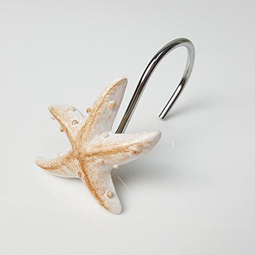 Chictie Chrome Shower Curtain Hooks White Seashell Stars Shape Bathroom Accessories Decorative Rings Hangers Assorted Set of 12