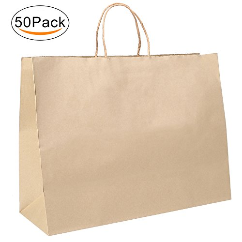 "Corodo Kraft Paper Bags, 50Pcs 16""x6""x12"" Shopping Bag, Kraft Bags, Party Bags, Gift Bags with Handles Brown Color 100% Recyclable Paper"