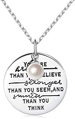 Graduation Gift for Her Woman Necklace Pearl Sterling Silver 18