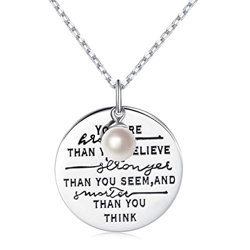Silver Sterling Love Disc (LINLIN FINE JEWELRY 925 Sterling Silver Cultured Pearl Encourage Engraved Insipratinal Disc Necklace Gift for Women Girls Friendship Graduation 18-20 inch (You are Stronger 01))