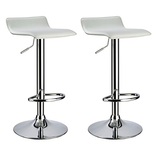 Bar stool WY-118 Curved Adjustable with PVC Leather Seat Set of 2 Bar chair (white) (Adjustable Bar Chair Stool)