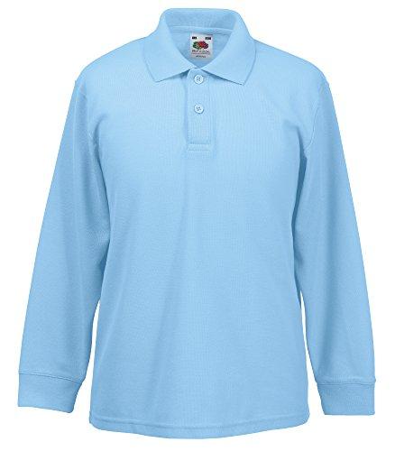 Fruit of the Loom Kids Long Sleeve Pique Polo Shirt 5-6 Sky
