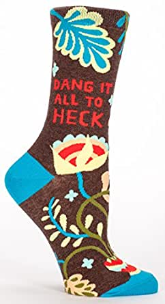 Blue Q Women's Novelty Crew Socks - Dang it all to heck (Womens Size 5-10) With Sock Ring