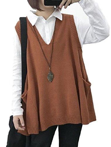 空洞ピース義務付けられたHeaven Days(ヘブンデイズ) ベスト ジレ ノースリーブ ニット Vネック 袖なし ゆったり ポケット レディース 1803B0261