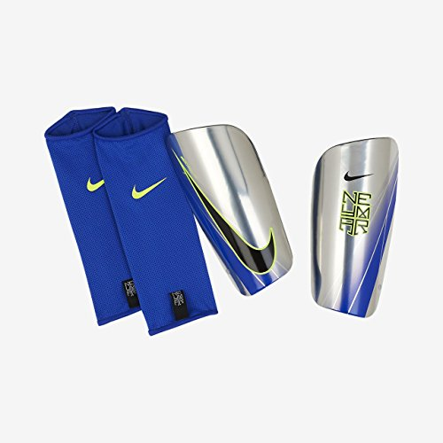 Chrome Soccer Shin Guards (Nike Neymar Mercurial Lite Shin Guard (Blue/Chrome/Volt) (M))