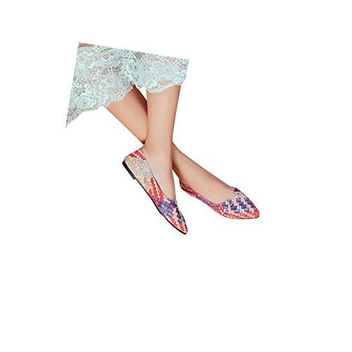 Kvinner Uformell Bohemia Flerfarget Ballett Slip På Leiligheter Spiss Tå Loafer Leiligheter Røde