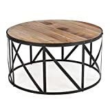 Drum Shaped Coffee Table StarSun Depot Round Metal and Wood Drum Shaped Coffee Table