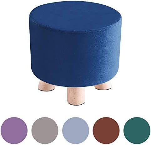HIGOGOGO Small Velvet Ottoman, Round Foot Rest Stool with Non-Slip Wooden Legs, Modern Footstool Seat Pouf for Living Room Sofa Bedroom Home Office, Navy, 11 x11 x9.8