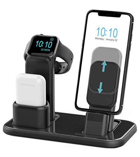 Beacoo Upgraded 3 in 1 Charging Stand for iWatch Series 5/4/3/2/1, Charging Station Dock Compatible with Airpods iPhone 11/11pro/max/Xs/X Max/XR/X/8/8Plus/7 /6S /9.7 inches iPad(No Charger & Cables) (Set It Off Band Phone Case)