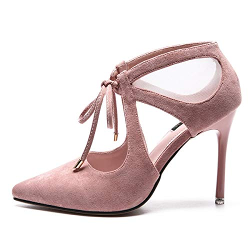 Mesh Sandals Heels Fashionable Sexy Shoes Pink 10Cm Heels Hollow High LBTSQ Pointed Hollow Laces Out Thin wE6dxwUq