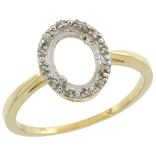 14k 6 Mm Mount (14K Yellow Gold Semi-Mount Ring ( 8x6 mm ) Oval Stone & 0.05 ct Diamond Accents, size 7)