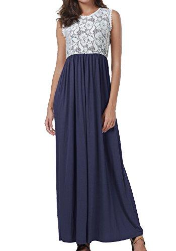 levaca Womens Summer Lace Patchwork Casual Flowy Loose Beach Long Maxi Dress