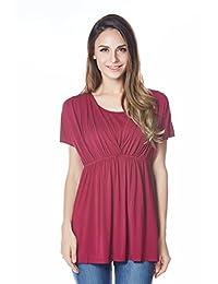 Bearsland Women's Maternity Shirt Nursing Tops Modal Comfy Breastfeeding Shirt