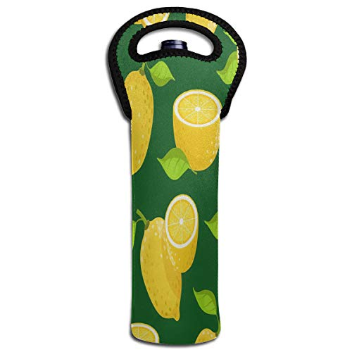Wine Bag Yellow Lemon 1 Bottle Red Wine Tote Bag Insulated Padded Single Water Handle Bag