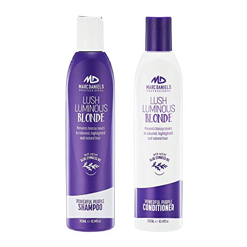 Powerful Purple Shampoo & Conditioner Set, Sulfate Free - Tones, Prevents, Balances Brassiness in Blonde, Color Treated, Silver, Grey Hair - Paraben Free, Vegan Friendly