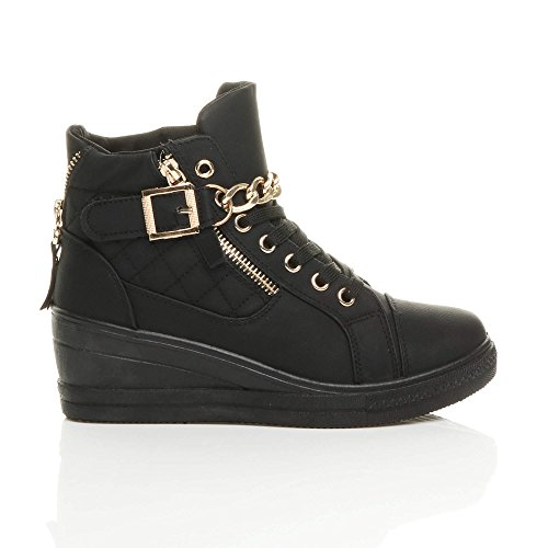 size Black high lace up buckle ladies chain Sole Womens trainers boots shoes platform ankle wedge Black heel top mid hi ARxUpna