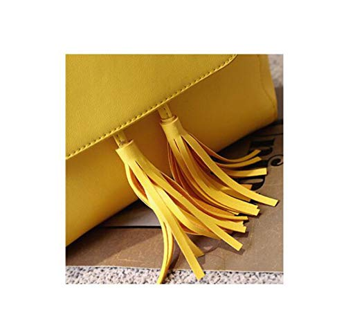 Bag Backpack Mini Pumping Yellow Tassel Women Backpack Leather Shoulder UqfE55