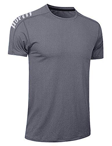 Men's Dry-Fit Moisture Wicking Active Athletic Performance Crew T-Shirt Running Workout Shirts Grey