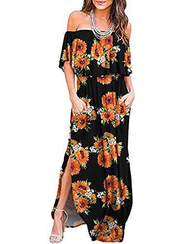 (Donnalla Womens Off The Shoulder Summer Side Split Dress Ruffle Beach Long Maxi Dresses with Pockets(Sunflower Small))