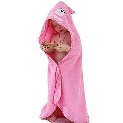 Topfly Kids Baby Cartoon Hooded Bathrobe Warm Cotton Toweling Bath Towel Cloak