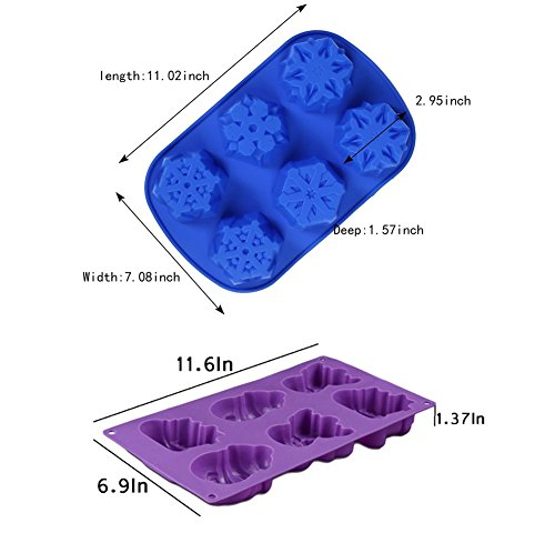 3 PCS Silicone Flower Cake Molds SENHAI 6-Cavity Chocolate Biscuit Muffine Baking Pans Soap Making trays Purple Pink Blue