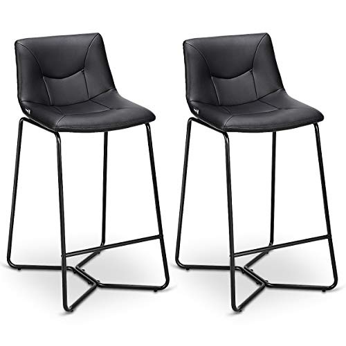 COSTWAY Dining Chair, Vintage Modern Counter Height Armless Back Upholstered Dining Chairs Faux Leather W/Metal Legs Pub Dining Kitchen Side Dining Chair Set of 2 (Black) - Metal Bar Stool Dining Room