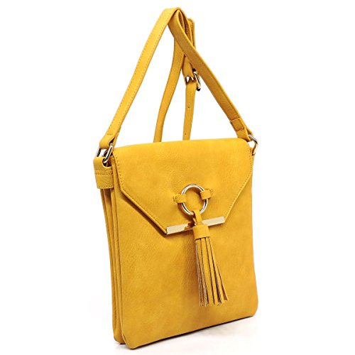 with tassels top Three flap bag crossbody compartments and large Yellow detail closure zipper q1EvZw0