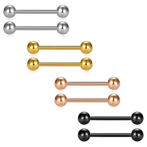 (D.Bella 8pcs 16G 16mm 5/8 inch Nipple Rings Stainless Steel Tongue Piercing Straight Barbell Body Piercing Jewelry)