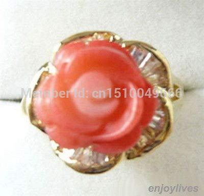 >>Pink Coral Flower 18kgp Crystal Ring Size: 7.8.9