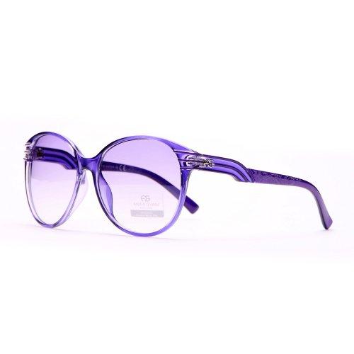 Anais Gvani Women's Fashionable Round Frame Sunglasses w/ Stripe & Stroke Accents - 2014 Sunglasses Fashionable