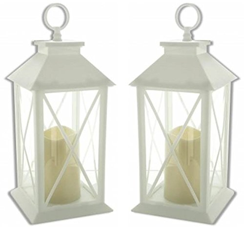 Hometown Basics Set of 2 Decorative White LED Lanterns with Pillar Candles - 11'' H by Hometown Basics