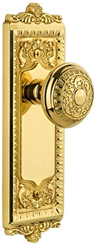 Grandeur 813735 Windsor Solid Brass Rose Passage Door Knob Set with Windsor Knob and 2-3/4
