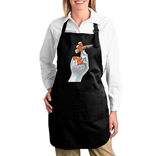 Hidden Ambition Finger Or Cigarette Cute Aprons for Women with Pockets, Mens Kitchen Aprons with Pocket for Waiter Cooking Baking Crafting Gardening BBQ