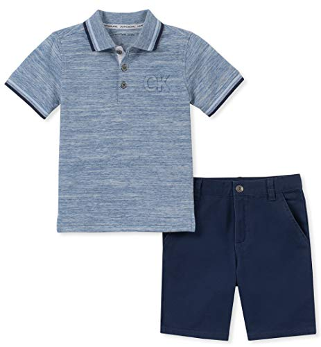 Calvin Klein Baby Boys 2 Pieces Polo Shorts Set, Navy, 18M